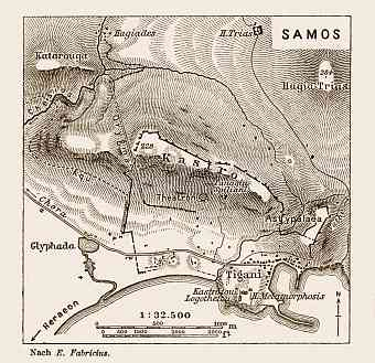 Samos (Σάμος), ancient site map drawn after Ernst Fabricius, 1914