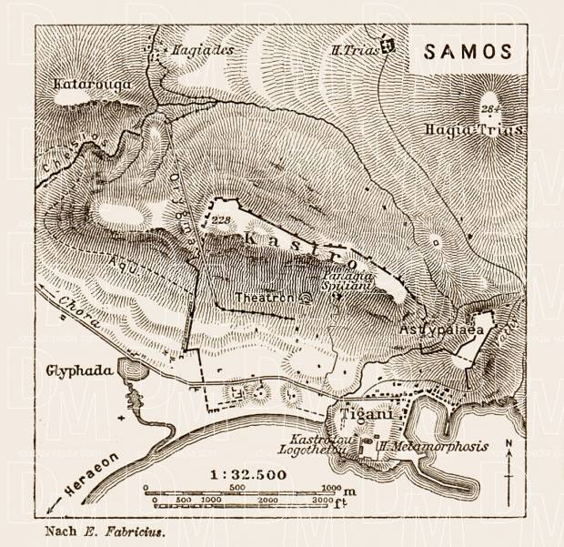 Samos (Σάμος), ancient site map drawn after Ernst Fabricius, 1914. Use the zooming tool to explore in higher level of detail. Obtain as a quality print or high resolution image