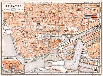 Le Havre city map, 1910