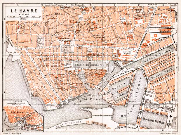 Historical map prints of Le Havre in France for sale and download