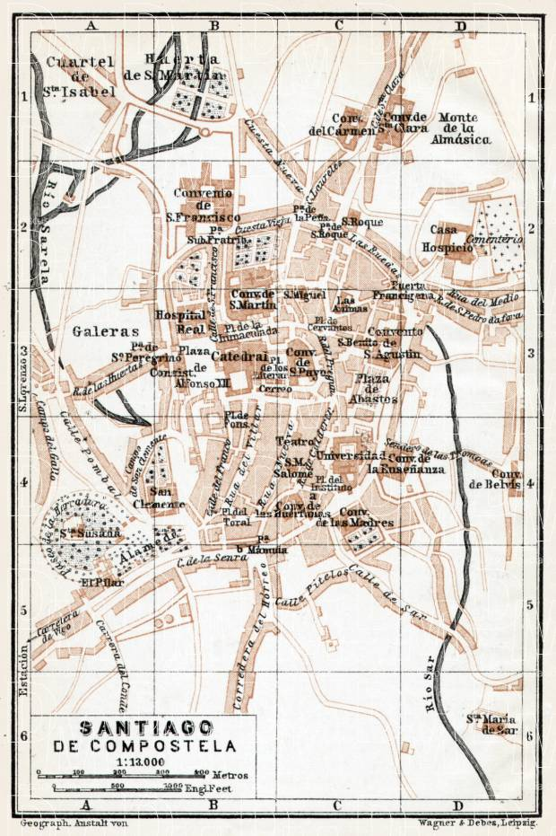 Old map of Santiago de Compostela in 1913 Buy vintage map replica