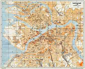 Leningrad (Ленинград, Saint Petersburg) city map, 1928