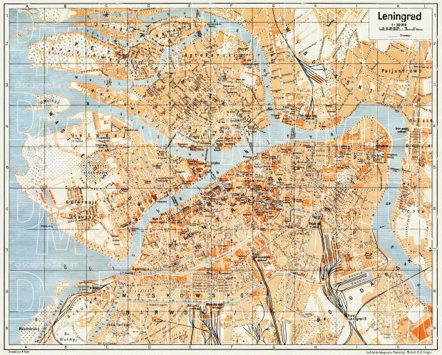 Leningrad (Ленинград, Saint Petersburg) city map, 1928. Use the zooming tool to explore in higher level of detail. Obtain as a quality print or high resolution image