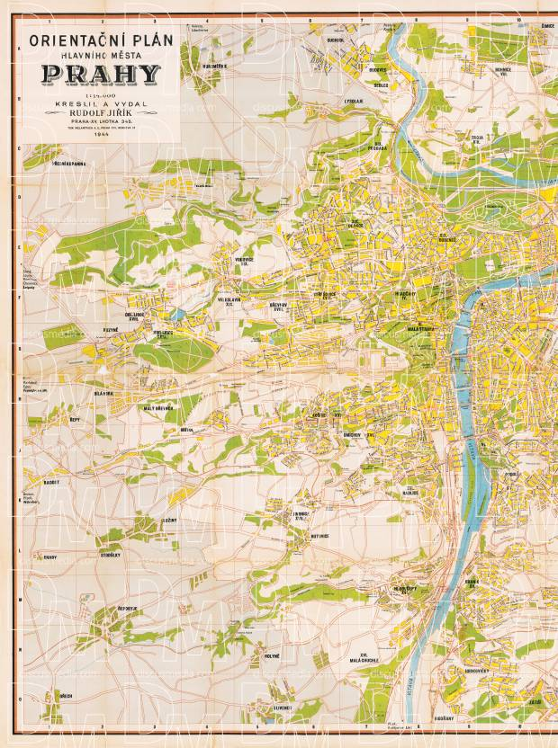 Prague (Praha) city map, 1944 - LEFT HALF. Use the zooming tool to explore in higher level of detail. Obtain as a quality print or high resolution image