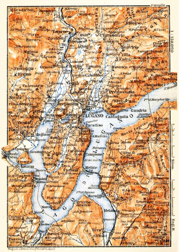 Lugano and environs map, 1897. Use the zooming tool to explore in higher level of detail. Obtain as a quality print or high resolution image