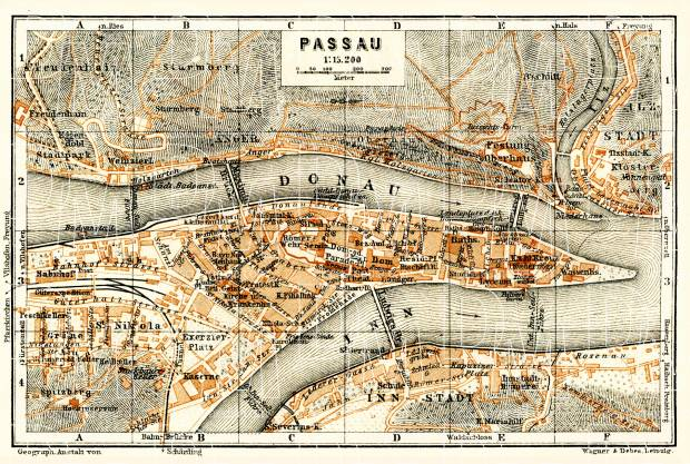 Passau city map, 1911. Use the zooming tool to explore in higher level of detail. Obtain as a quality print or high resolution image
