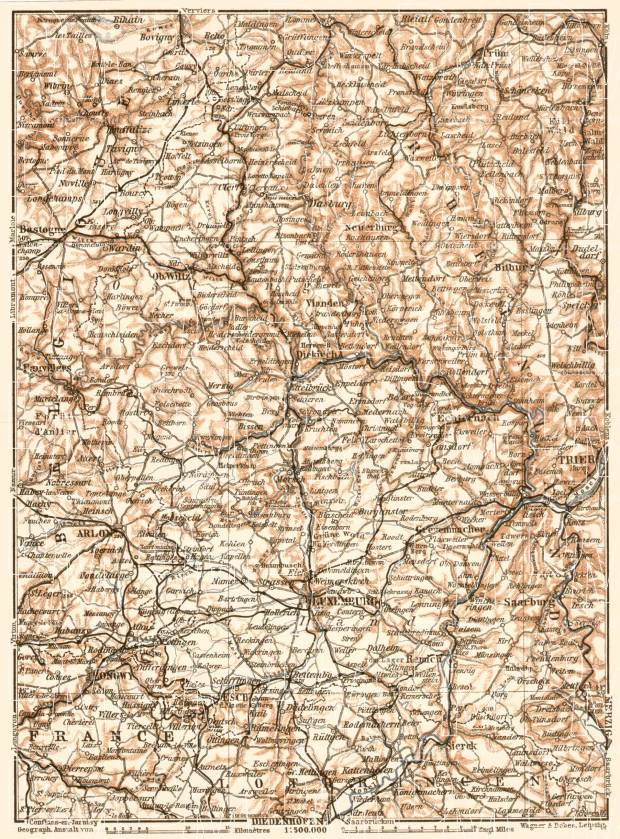 Luxembourg, general map, 1909. Use the zooming tool to explore in higher level of detail. Obtain as a quality print or high resolution image