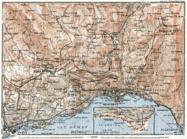 Old map of Montreux Vevey and vicinities in 1909 Buy vintage map