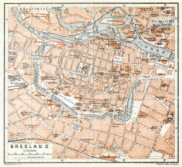 Old map of Breslau Wrocaw Center in 1906 Buy vintage map replica