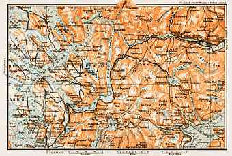 Bergen - Voss district map, 1931