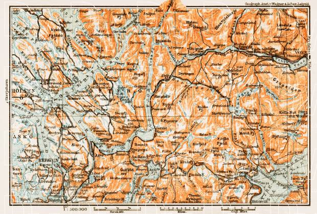 Old Map Of The Vicinities Of Bergen And Voss In Buy Vintage - Bergen map
