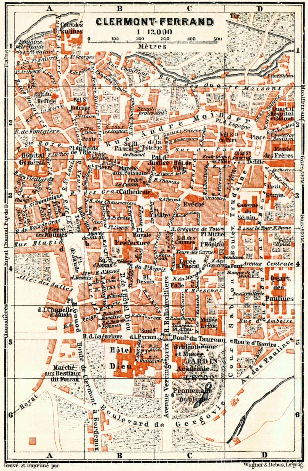 Old map of ClermontFerrand in 1885 Buy vintage map replica