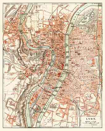 Lyon city map, 1913