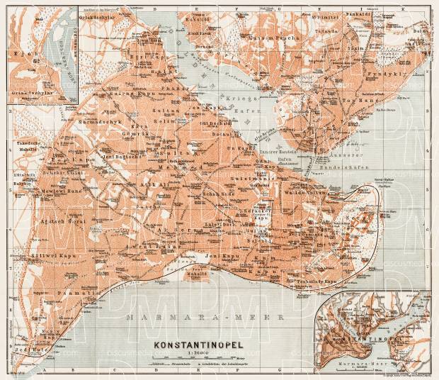 Old map of Constantionople (Istanbul) in 1914. Buy vintage map ...