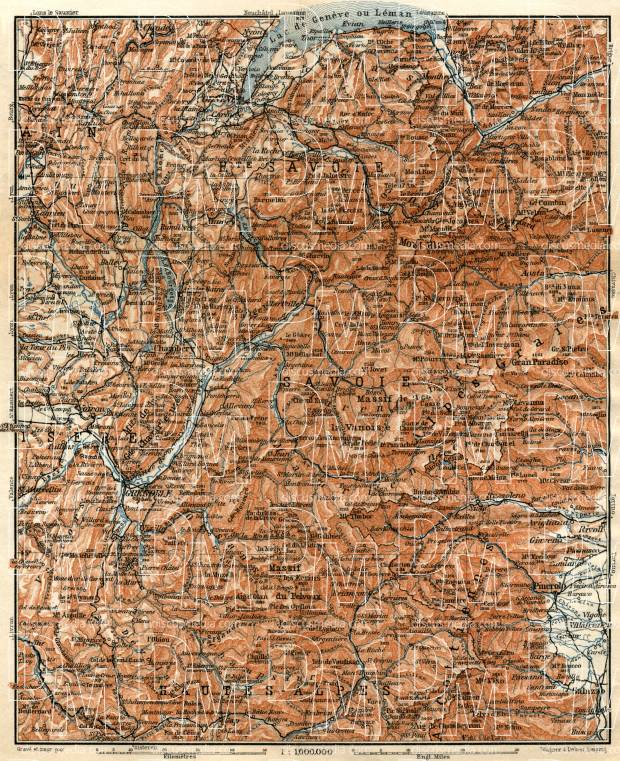 Savoie Mountains map, 1913. Use the zooming tool to explore in higher level of detail. Obtain as a quality print or high resolution image