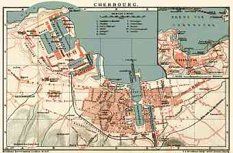 Cherbourg city map, 1897