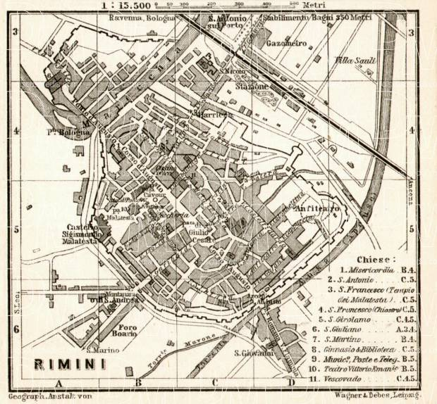 Rimini town plan, 1909. Use the zooming tool to explore in higher level of detail. Obtain as a quality print or high resolution image