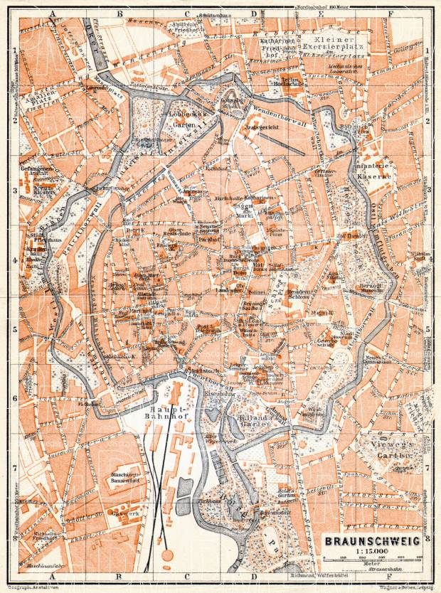 Braunschweig city map, 1906. Use the zooming tool to explore in higher level of detail. Obtain as a quality print or high resolution image