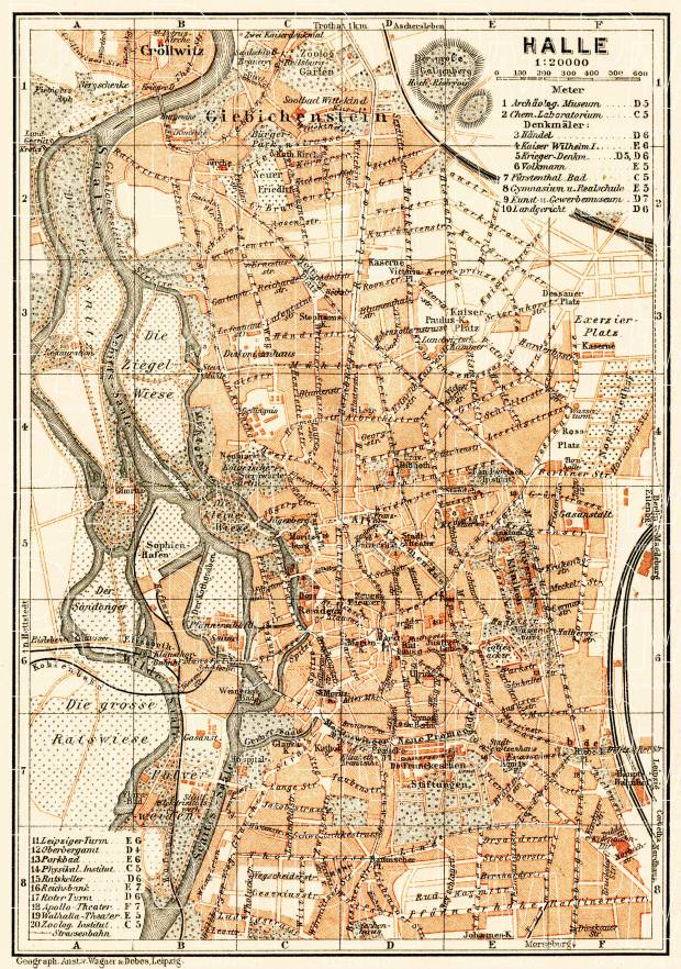 Halle city map, 1906. Use the zooming tool to explore in higher level of detail. Obtain as a quality print or high resolution image