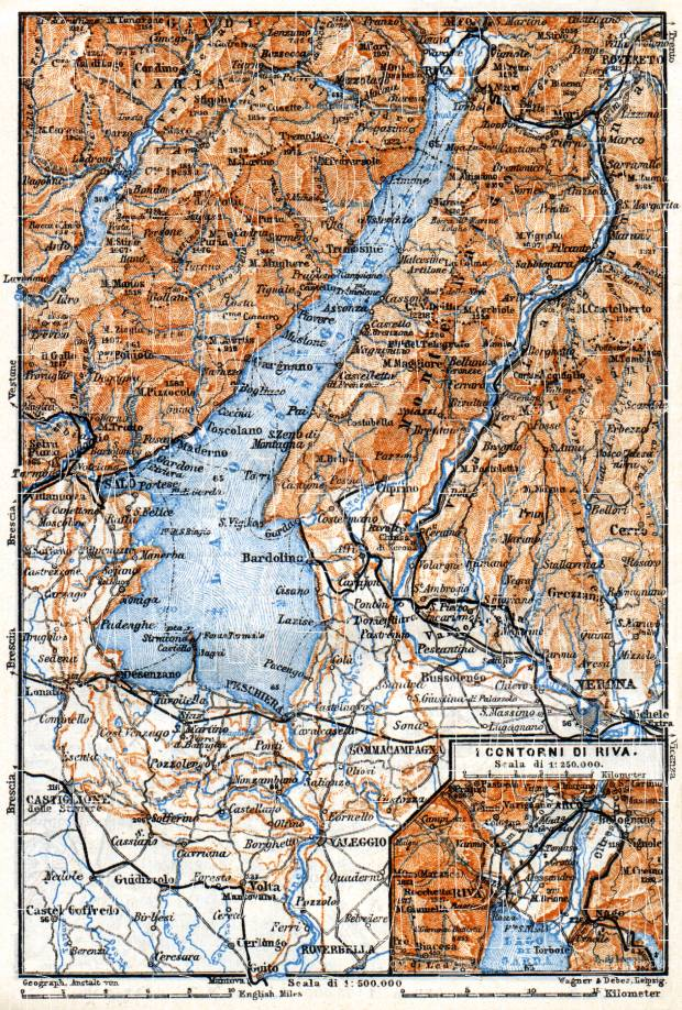 Garda Lake and environs map, 1911. Use the zooming tool to explore in higher level of detail. Obtain as a quality print or high resolution image