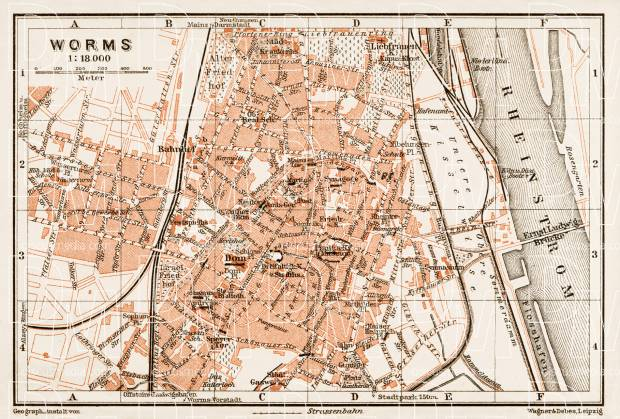 Worms city map, 1909. Use the zooming tool to explore in higher level of detail. Obtain as a quality print or high resolution image