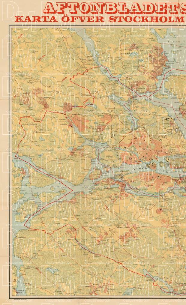 Stockholm city and adjacent communes map, 1911, LEFT HALF. Use the zooming tool to explore in higher level of detail. Obtain as a quality print or high resolution image