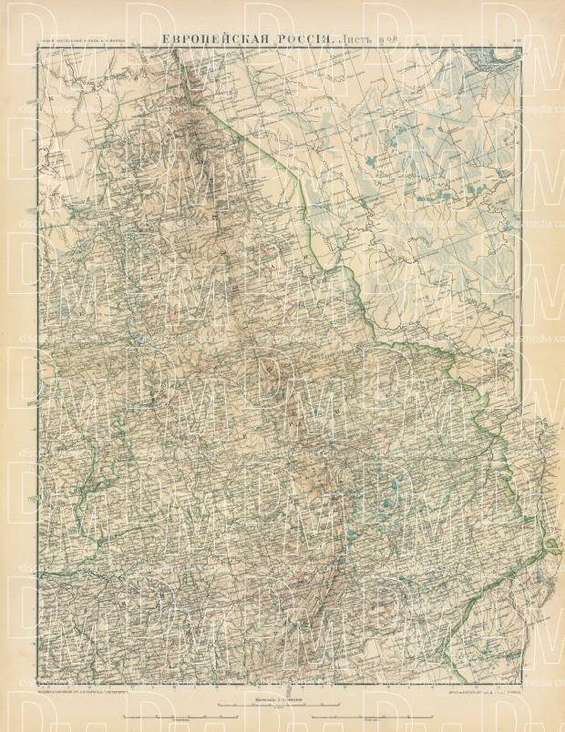 Old map of the Perm and Ufa Governorates in 1910 Buy vintage map