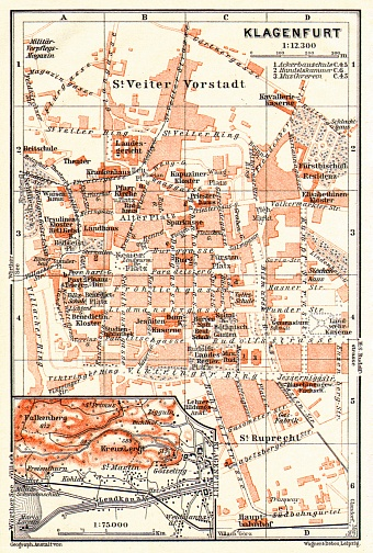 Klagenfurt and environs map, 1913