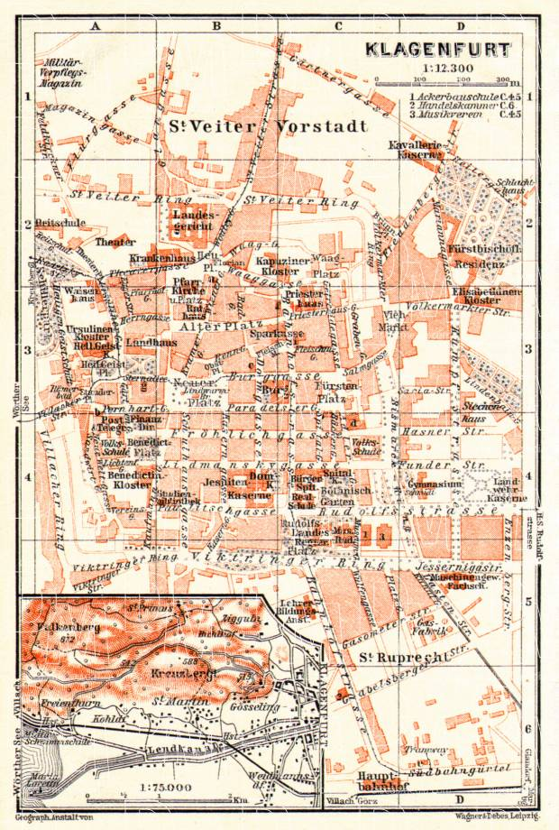 Old map of Klagenfurt and vicinity in 1913 Buy vintage map replica