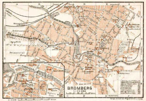 Bromberg (Bydgoszcz) city map, 1911. Use the zooming tool to explore in higher level of detail. Obtain as a quality print or high resolution image