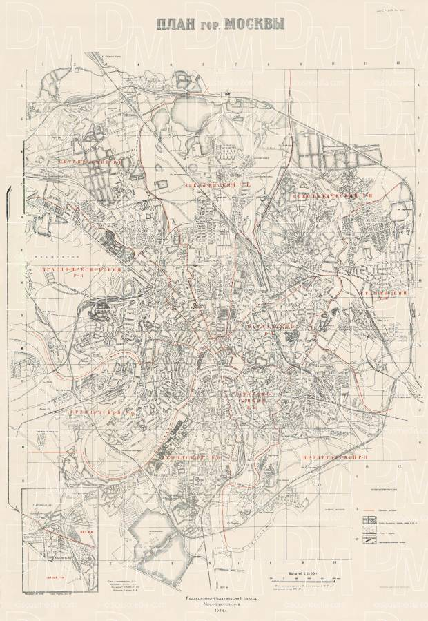 Moscow (Москва, Moskva), city map, 1934. Use the zooming tool to explore in higher level of detail. Obtain as a quality print or high resolution image