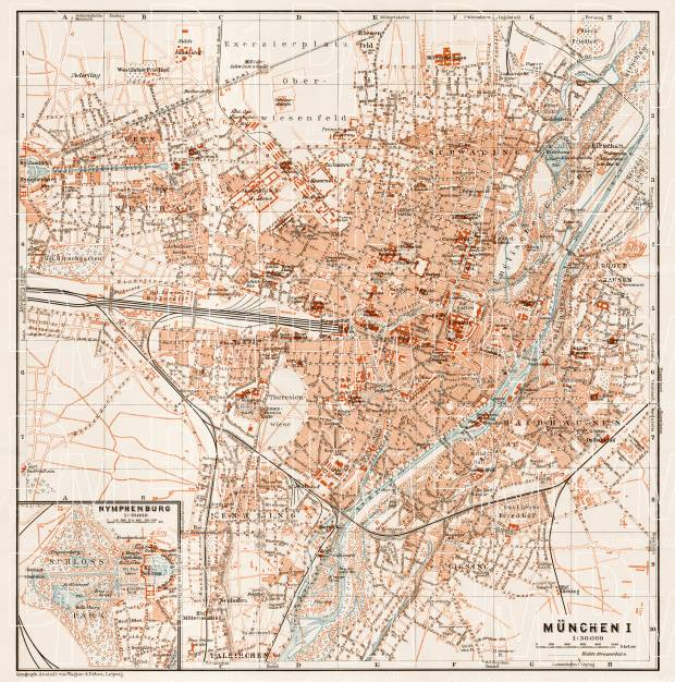 München (Munich) city map, 1909. Use the zooming tool to explore in higher level of detail. Obtain as a quality print or high resolution image