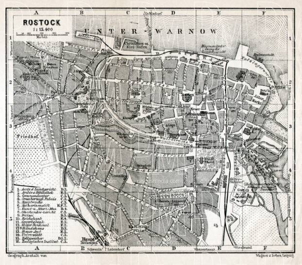 Rostock city map, 1911. Use the zooming tool to explore in higher level of detail. Obtain as a quality print or high resolution image