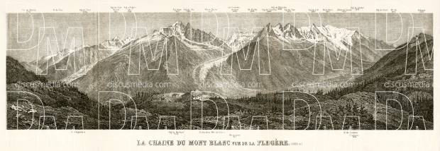 Mont Blanc panorame from Flégère, 1902. Use the zooming tool to explore in higher level of detail. Obtain as a quality print or high resolution image