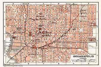 Indianapolis city map, 1909