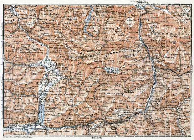 Königssee and environs, Salzach River and Salzach Valley area map, 1910. Use the zooming tool to explore in higher level of detail. Obtain as a quality print or high resolution image