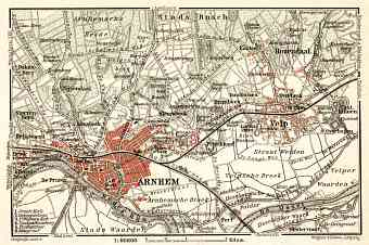 Arnhem and environs map, 1909