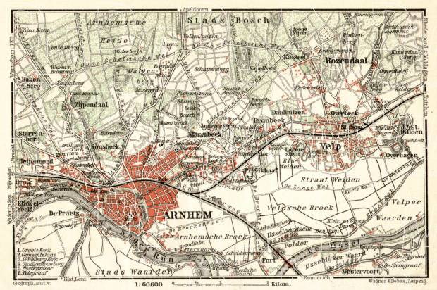 Arnhem and environs map, 1909. Use the zooming tool to explore in higher level of detail. Obtain as a quality print or high resolution image