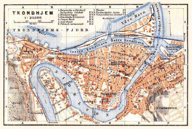 Old map of Trondheim Trondhjem in 1910 Buy vintage map replica