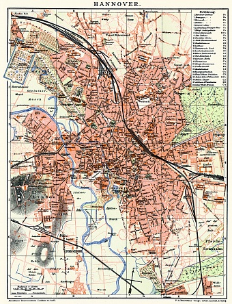 Hannover city map, 1910