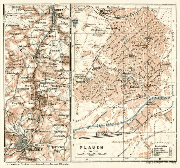 Plauen and environs map, 1911. Use the zooming tool to explore in higher level of detail. Obtain as a quality print or high resolution image