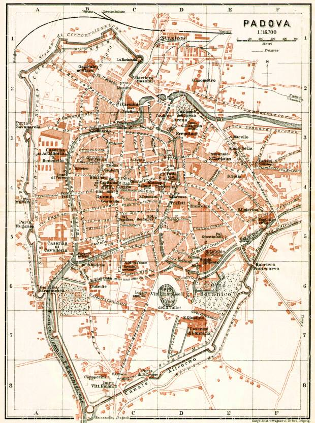 Padua (Padova) city map, 1908. Use the zooming tool to explore in higher level of detail. Obtain as a quality print or high resolution image