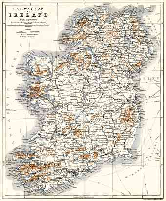 Ireland railway map, 1906