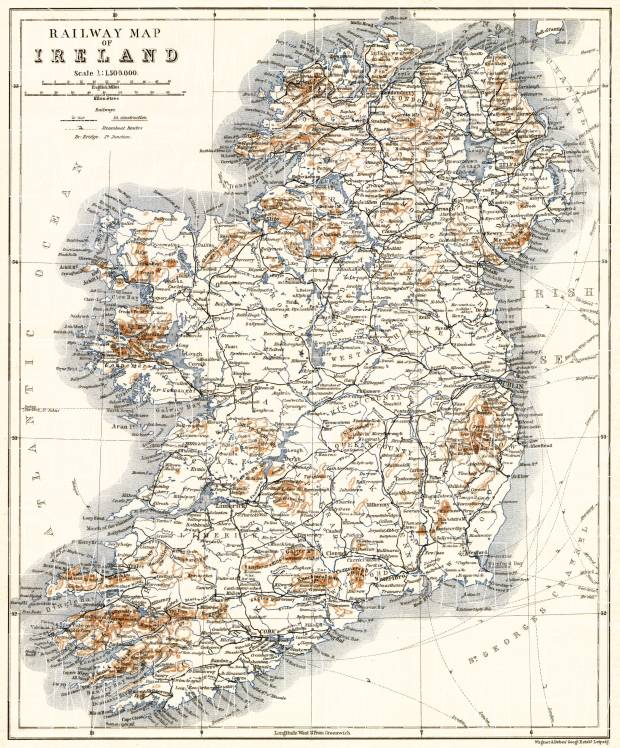Print Map Of Ireland.Ireland Railway Map 1906