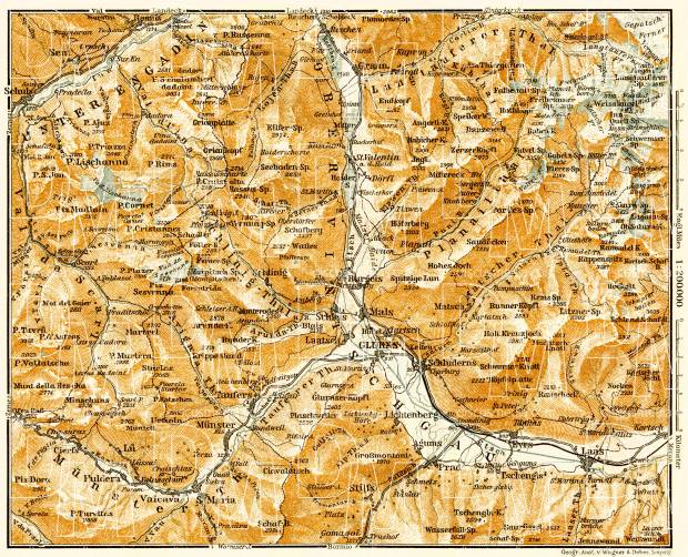 Map of the Upper Vinschgau (Val Venosta), 1906. Use the zooming tool to explore in higher level of detail. Obtain as a quality print or high resolution image