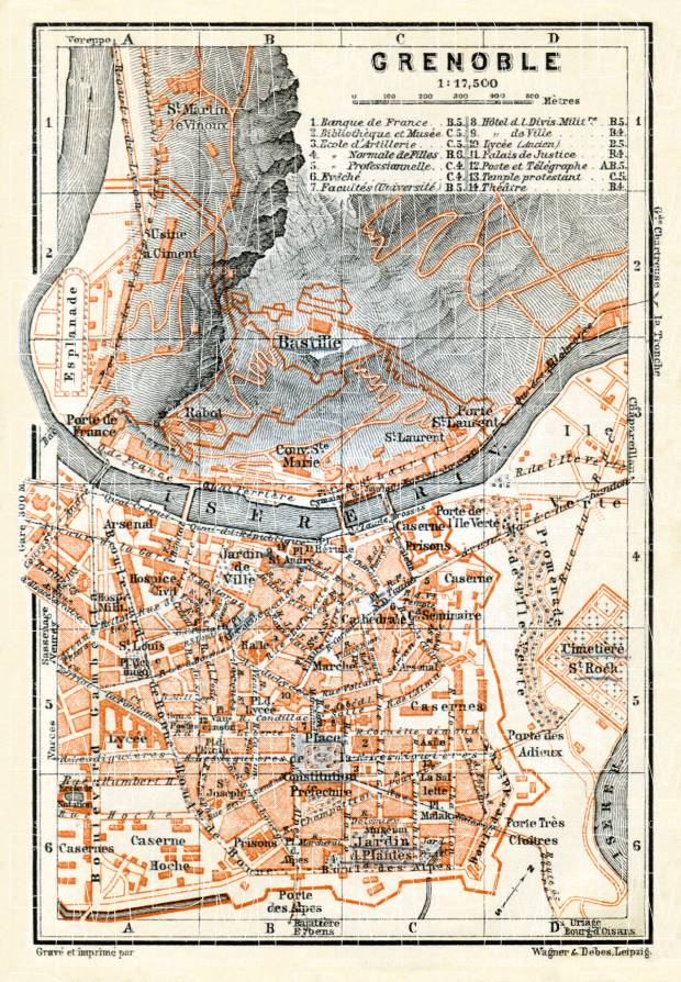 Old map of Grenoble in 1900 Buy vintage map replica poster print or