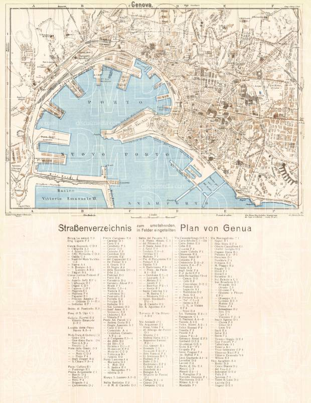 Genoa (Genova) city map, 1929. Use the zooming tool to explore in higher level of detail. Obtain as a quality print or high resolution image