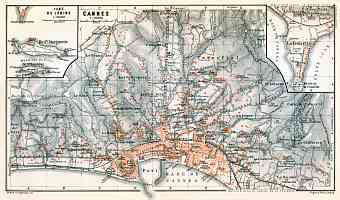 Historical map prints of Cannes in France for sale and download Map