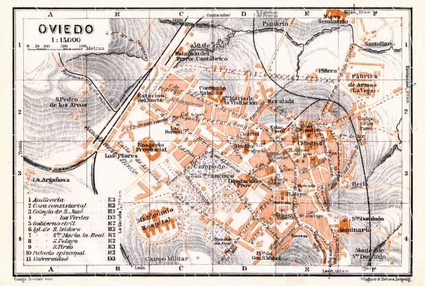 Oviedo city map, 1929. Use the zooming tool to explore in higher level of detail. Obtain as a quality print or high resolution image