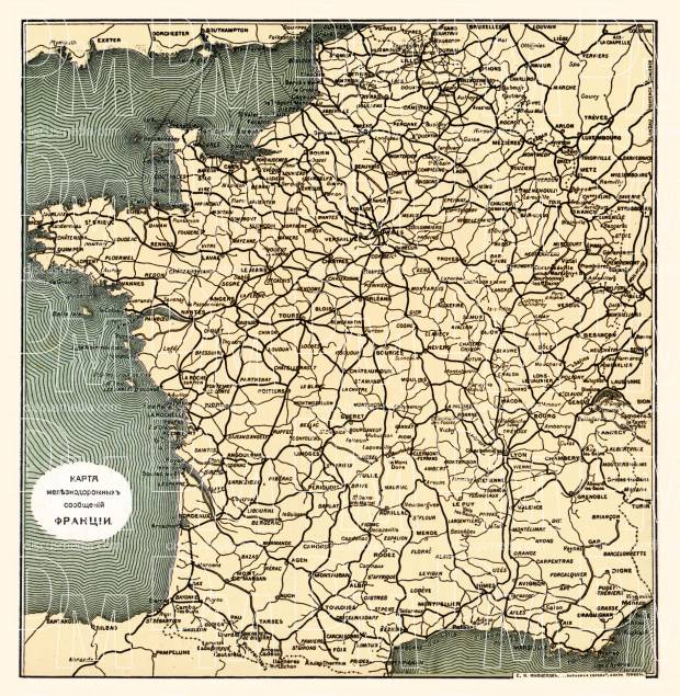 Railway map of France (Legend in Russian), 1900. Use the zooming tool to explore in higher level of detail. Obtain as a quality print or high resolution image
